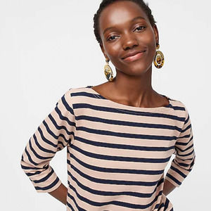 J. Crew Structured Boatneck Striped Tee Small